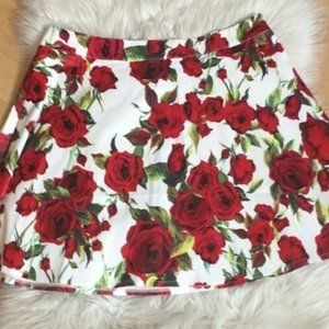 Luna a-line mini skirt red roses flowers NEW XL